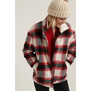 NWT LUCKY BRAND PLAID WOOL BLEND ZIP JACKET  COAT